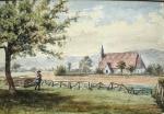 Hanley Swan, St Gabriel's chapel & school, watercolour1860s