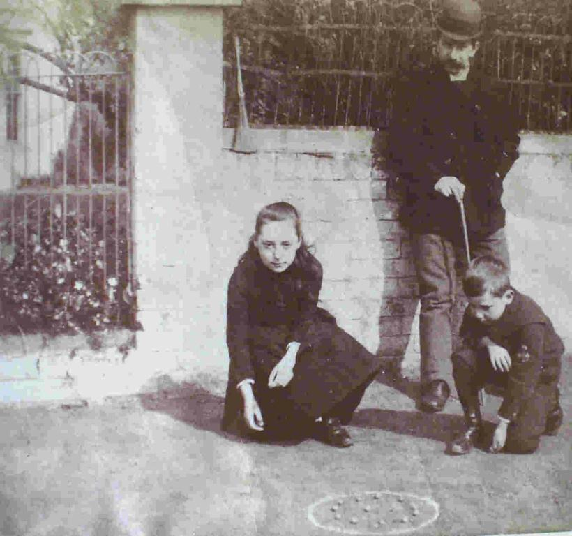 Medley children playing marbles, c. 1890