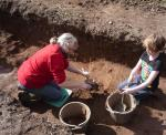 Juliet Brown and daughter Anna-May working in Trench 5